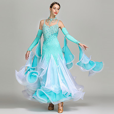 f0f5103113f Ballroom Dance Outfits   Rhinestone Bodysuit Women s Performance Spandex    Chiffon   Organza Beading   Crystals   Rhinestones Sleeveless High Dress ...