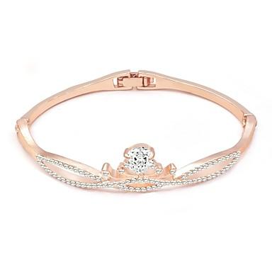 baratos Bangle-Mulheres Claro Bracelete Clássico Coroa Estiloso Liga Pulseira de jóias Prata / Ouro Rose / Champanhe Para Diário Aniversário Bagels