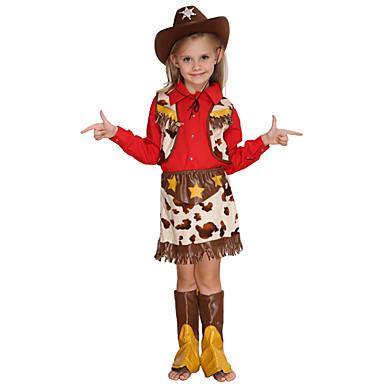 מערב מערב קאובוי קאובוי תחפושות בנות בגדי ריקוד ילדים תלבושות פעיל חג המולד האלווין (ליל כל הקדושים) קרנבל פסטיבל / חג כותנה polyster תלבושות אודם כוכבים