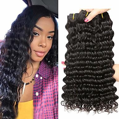 baratos Extensões de Cabelo Natural-4 pacotes Cabelo Peruviano Onda Profunda 100% Remy Hair Weave Bundles Cabelo Humano Ondulado Cabelo Bundle Extensões de Cabelo Natural 8-28inch Côr Natural Tramas de cabelo humano Simples Sem Cheiros