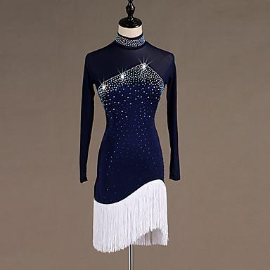 ชุดเต้นละติน ชุดเดรสต่างๆ สำหรับผู้หญิง การฝึกอบรม / Performance สแปนเด็กซ์ / Tulle พู่ / คริสตัล / พลอยเทียมต่างๆ แขนยาว สูง ชุดเดรส