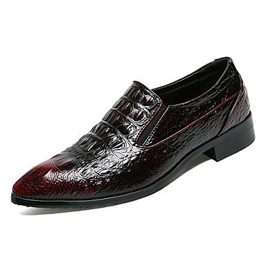 בגדי ריקוד גברים נעלי נוחות PU אביב יום יומי נעליים ללא שרוכים ללא החלקה שחור / Wine