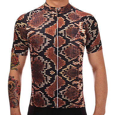 d5a709c26 TELEYI Men s Short Sleeve Cycling Jersey - Brown Creative Animal Bike  Jersey Quick Dry Sports Polyester