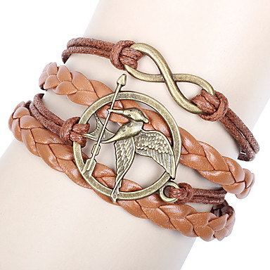 voordelige Herensieraden-Heren Wikkelarmbanden Gevlochten Vogel Oneindigheid Vintage Europees Modieus PU-nahka Armband sieraden Bruin Voor Dagelijks Straat