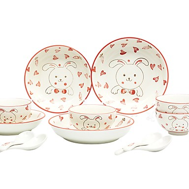 7ab6c15136bb3 12-Piece Dining Bowl Serving Dishes Chinaware Set Dinnerware Porcelain  Ceramic Earthenware Animals Cute Heatproof