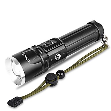 billige Lommelykter & campinglykter-U'King LED Lommelygter 2000 lm LED LED emittere 3 lys tilstand Justerbart Fokus Camping / Vandring / Grotte Udforskning Dagligdags Brug Multifunktion