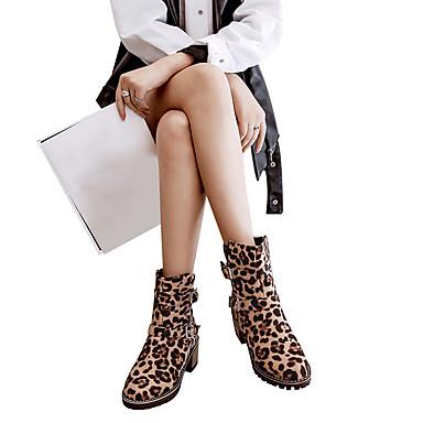 povoljno Ženske čizme-Žene Brušena koža Jesen zima Klasik / Ležerne prilike Čizme Blok pete Okrugli Toe Čizme do pola lista Kopča Braon / Leopard / Burgundac