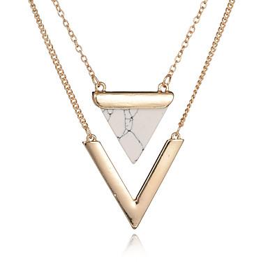 billige Mote Halskjede-Dame Hvit Turkis lagdelte Hals Klassisk Chrome Hvit 54+3 cm Halskjeder Smykker 2pcs Til Bursdag