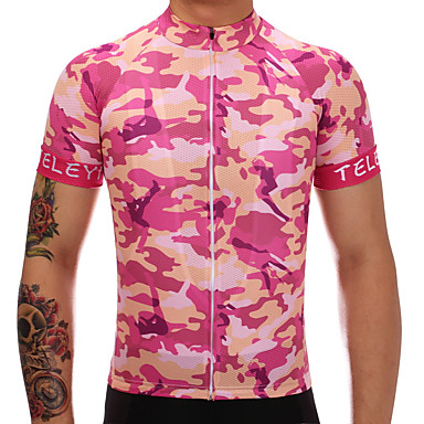 TELEYI Men's Short Sleeve Cycling Jersey Peach Camo / Camouflage Bike Jersey Top Moisture Wicking Quick Dry Sports Polyester Mountain Bike MTB Road Bike Cycling Clothing Apparel / Stretchy