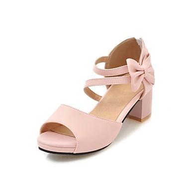 povoljno Male štikle za djevojčice-Djevojčice PU Cipele na petu Mala djeca (4-7s) / Velika djeca (7 godina +) Sitni pete za mlade Obala / Crn / Pink Ljeto