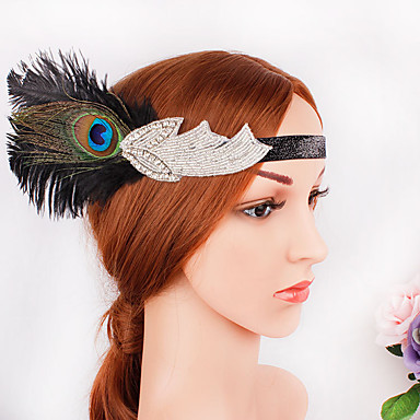 The Great Gatsby 1920s The Great Gatsby Costume Women's Flapper Headband Head Jewelry Black Vintage Cosplay Party Prom Festival