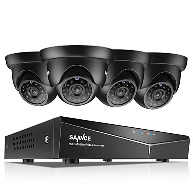 [$167 99] SANNCE® 8CH 4PCS 720P HD Video Camera 1080N 5in1 DVR Weatherproof  Surveillance System Night Vision & Easy Mobile Monitoring