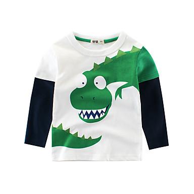 baratos Camisas para Meninos-Infantil Para Meninos Básico Esportes Escola Dinossauro Estampado Estampado Manga Longa Padrão Algodão Blusa Bege