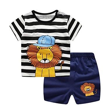 povoljno Odjeća za bebe Za dječake-Dijete Dječaci Osnovni Dnevno Blue & White Žakard Kratkih rukava Kratka Kratak Pamuk Komplet odjeće Navy Plava / Dijete koje je tek prohodalo