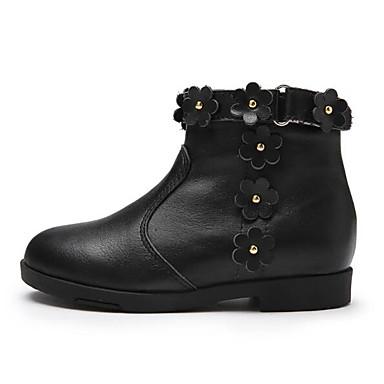 בנות נעליים עור סתיו חורף נוחות / מגפיים אופנתיים מגפיים ל ילדים שחור / מגפונים\מגף קרסול