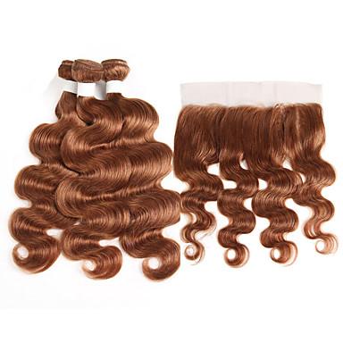 baratos Extensões de Cabelo Natural-3 pacotes com fechamento Cabelo Brasileiro Onda de Corpo Cabelo Natural Remy Extensões de Cabelo Natural Trama do cabelo com Encerramento 10-26 polegada Natural Tramas de cabelo humano Macio Melhor