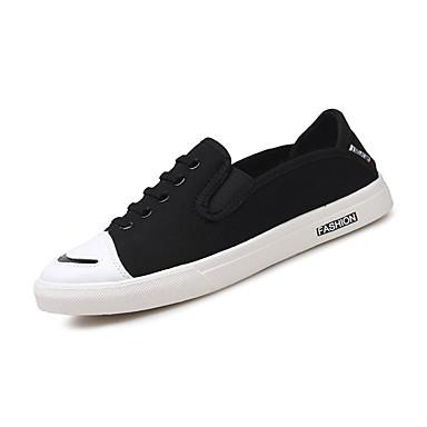 สำหรับผู้ชาย รองเท้าสบาย ๆ ผ้าใบ ตก รองเท้าผ้าใบ สีดำ / สีเทา / แดง