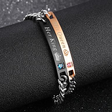 abordables Bracelet-Bracelet Femme Classique Gravé Zircon Strass Couronne simple Coréen Mode Bracelet Bijoux Noir Or Rose pour Quotidien Rendez-vous