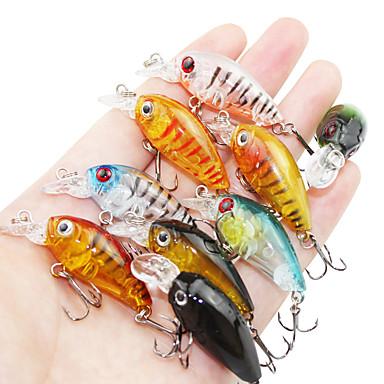 9 pcs خدع الصيد طعم صيد جامد (المنوة) سمك اوروبي البلاستيك الجامد الطفو الصيد البحري طعم الاسماك صيد الأسماك الغزلي / القفز صيد الأسماك / صيد الأسماك في المياه العذبة / باس الصيد / إغراء الصيد
