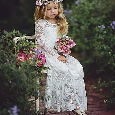 povoljno 7/05-Dijete Djevojčice Osnovni Jednobojni Dugih rukava Pamuk Haljina Obala / Dijete koje je tek prohodalo
