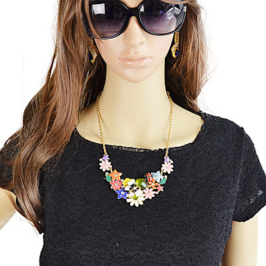 cheap Necklaces-Women's Statement Necklace Chunky Flower Sweet Fashion Chrome Enamel Rainbow 45.5 cm Necklace Jewelry 1pc For Daily Date