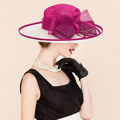 abordables Coiffes-Lin Kentucky Derby Hat / Chapeaux avec Fleur 1pc Mariage / Occasion spéciale / Décontracté Casque