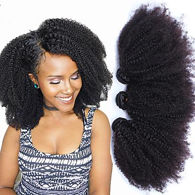 baratos Extensões de Cabelo Natural-3 pacotes Cabelo Mongol Afro Kinky Curly Não processado Cabelo Natural 100% Remy Hair Weave Bundles Cabelo Humano Ondulado 10-24 polegada Tramas de cabelo humano Feminino Natural 100% Virgem