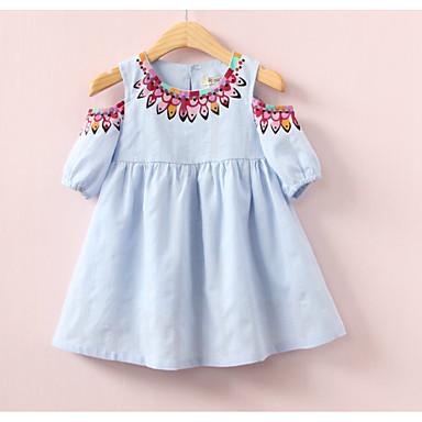 رخيصةأون ملابس الفتيات-فستان كم قصير لون سادة / هندسي للفتيات طفل صغير