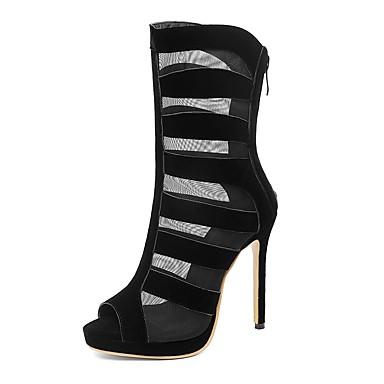 povoljno Ženske čizme-Žene PU Ljeto Posao / minimalizam Čizme Stiletto potpetica Peep Toe Čizme do pola lista Crn / Crvena / Vjenčanje / Zabava i večer