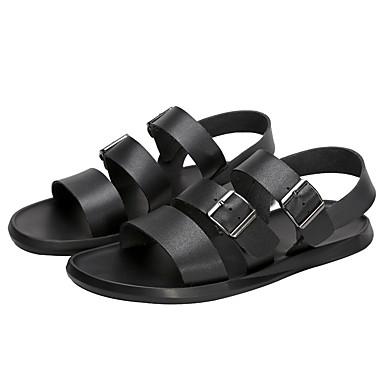Hombre Zapatos Confort Cuero Verano Sandalias Blanco / Negro