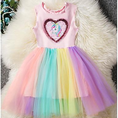 お買い得  女児 ドレス-子供 女の子 ベーシック 虹色 パッチワーク ノースリーブ ドレス ピンク