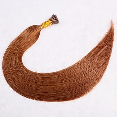 baratos Extensões de Cabelo Natural-1 pacote Cabelo Brasileiro Liso Cabelo Virgem Extensor 18 inch Dourado Marrom Tramas de cabelo humano extensão Tecido Natural Extensões de cabelo humano Mulheres