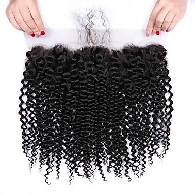 voordelige Weaves van echt haar-1 bundel Braziliaans haar Kinky Curly Onbehandeld haar Wig Accessories Haar Weft met Sluiting 8-20 inch(es) Natuurlijke Kleur Menselijk haar weeft Creatief Stress en angst Relief nieuwe collectie