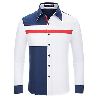 Hombre Retazos - Algodón Camisa, Cuello Inglés Bloques Blanco L