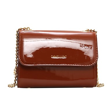 67761198d1 Women s Bags Patent Leather   PU(Polyurethane) Shoulder Bag Buttons Solid  Color Black   Coffee   Brown