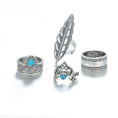 1ee38092f04e Mujer Jaspe Clásico Anillo Juego de anillos Forma de Hoja Corona Suerte De  moda Moda Anillos