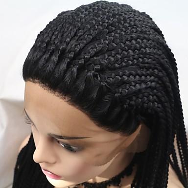 Syntetické čipky předních paruky Plaited Styl Vrstvený střih Se síťovanou přední částí Paruka Černá Černá Umělé vlasy 24 inch Dámské Dámské Černá Paruka Dlouhý Sylvia 130% Lidské vlasy Hustota