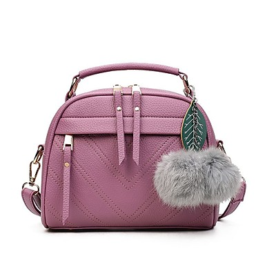 Women's Feathers / Fur Faux Leather / Polyester Shoulder Messenger Bag Solid Color Red / Gray / Light Purple / Fall & Winter