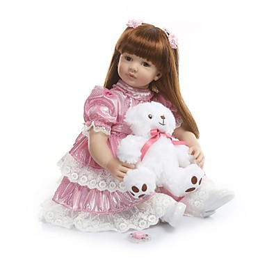 preiswerte Lebensechte Puppe-NPKCOLLECTION NPK-PUPPE Lebensechte Puppe Baby Mädchen 24 Zoll Vinyl - Geschenk Niedlich Künstliche Implantation Braune Augen Kinder Mädchen Spielzeuge Geschenk