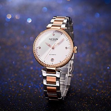 baratos Relógios Senhora-nesun Mulheres relógio mecânico Casual Fashion Branco Prata Vermelho Aço Inoxidável Couro Legitimo Japanês Automático - da corda automáticamente Prata Vermelho Rosa Dourado Impermeável Calendário