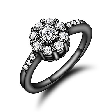 Χαμηλού Κόστους Μοδάτο Δαχτυλίδι-Γυναικεία Διάφανο Cubic Zirconia Κλασσικό Δαχτυλίδι 18Κ Επίχρυσο Προσομειωμένο διαμάντι Μαργαρίτα Στυλάτο Πολυτέλεια Ρομαντικό Μοντέρνα Κομψό Μοδάτο Δαχτυλίδι Κοσμήματα Χρυσό / Μαύρο Για