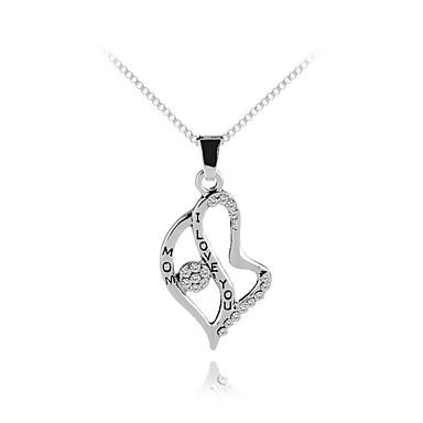 179ec83ee896 Mujer Zirconia Cúbica Clásico Collares con colgantes Zirconio Corazón Letra  De moda Dulce Moda Encantador Plata