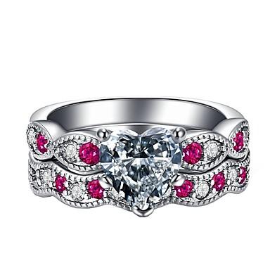 billige Motering-Dame Ring Kubisk Zirkonium 2pcs Rosa Legering Gave Daglig Smykker Smuk