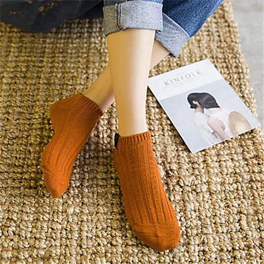 abordables Accessoires pour Chaussures-5 paires Femme Chaussettes Couleur Pleine Chaud Coton EU36-EU42