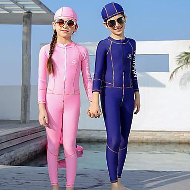 QISEHAI Poikien Tyttöjen Skin-tyyppinen märkäpuku Sukelluspuvut Pidä lämpimänä UV-aurinkosuojaus Full Body Etuvetoketju - Uinti Sukellus Vesiurheilu Patchwork Syksy Kevät Kesä / Elastinen / Lasten