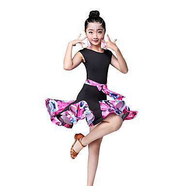 Dança Latina / Roupas de Dança para Crianças Vestidos Para Meninas Espetáculo Fibra Sintética Estampa / Franzido / Combinação Sem Manga Alto Vestido
