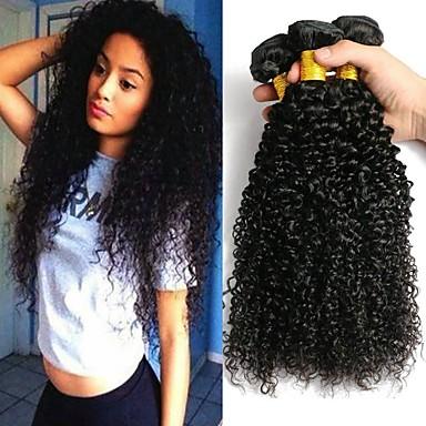 baratos Extensões de Cabelo Natural-4 pacotes Cabelo Indiano Kinky Curly 100% Remy Hair Weave Bundles Peça para Cabeça Cabelo Humano Ondulado Cabelo Bundle 8-28 polegada Preta Côr Natural Tramas de cabelo humano Sem Cheiros Sedoso