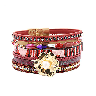 abordables Bracelet-Bracelets en cuir Femme Multirang Pétale Elégant Bohème Bracelet Bijoux Rouge pour Cadeau Quotidien Entraînement Soirée Anniversaire