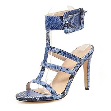 cheap Women's Shoes New Arrivals-Women's PU(Polyurethane) / Snakeskin Spring & Summer Sandals Stiletto Heel Open Toe White / Blue / Wine / Wedding / Party & Evening / Party & Evening