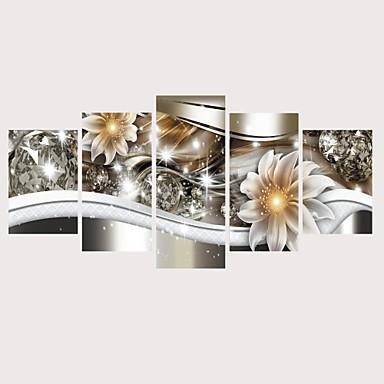 abordables Toiles-Imprimé Impressions sur toile roulées Impression sur Toile - Botanique A fleurs / Botanique Contemporain Moderne Cinq Panneaux Art Prints
